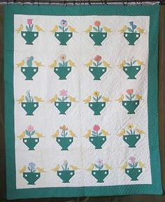 Vintage c1930 Beautiful Sweet Birds Urns Garden Party Applique Quilt | Vintageblessings