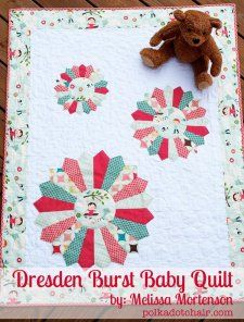 This unique Dresden plate quilt pattern uses several different size Dresden plates against a plain white background for an updated take on this traditional baby quilt pattern. The Dresden Burst Baby Quilt is great for showcasing colorful fabrics! Baby Quilt Tutorials, Beginner Quilt Patterns, Baby Quilt Patterns, Quilting For Beginners, Quilting Tutorials, Quilting Projects, Quilting Designs, Free Tutorials, Quilting Ideas