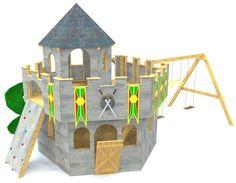2 level wooden castle w/ swings and slide