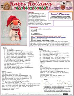 amigurumi Snowman crochet pattern, stuffed plush snowman Christmas free diy pattern, please see descSpontaneous Joy: free pattern bottom of pageRavelry: Gurumi'O'Snowman pattern by Frances ChenNerdigurumi - Free Amigurumi Crochet Patterns with love f Crochet Gratis, Crochet Patterns Amigurumi, Crochet Dolls, Free Crochet, Crochet Lion, Holiday Crochet, Christmas Knitting, Crochet Snowman, Crochet Projects
