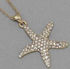 Vintage Inspired Goldtone Starfish Crystal Rhinestone Necklace (Sparkle-1543-U) #Unbranded #Pendant