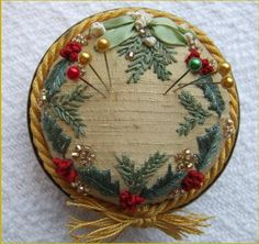 Holly and Mistletoe Pincushion