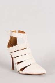 Qupid Potion-110 Stingray Strappy Pointy Toe Ankle Bootie