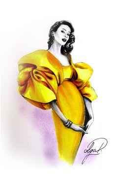 Lady in yellow dress retro style fashion illustration Olga Dvoryanskaya