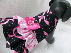 Pink Ribbon Dog Dress with  ruffles and built by graciespawprints