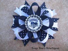 New York Yankees Inspired Bottle Cap Bow. $8.00, via Etsy.