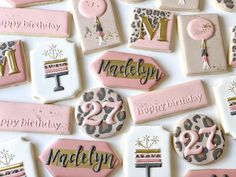 Iced Cookies, Cut Out Cookies, Fun Cookies, Cake Cookies, Sugar Cookies, Decorated Cookies, Cookie Cake Birthday, 18th Birthday Cake, Cookie Icing