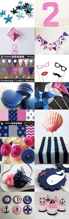 Pink & Navy Nautical Party decorations & printables from Etsy. All you need to decorate a baby girl shower, birthday party or bridal shower!