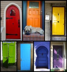 I'd love a brightly coloured front door or garden gate.  Found at www.peasandcrayons.blogspot.com