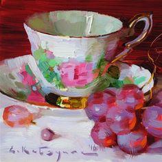 "Daily+Paintworks+-+""Royal+Rose+and+Grapes""+-+Original+Fine+Art+for+Sale+-+©+Elena+Katsyura"