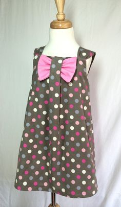 Bow dress made in cord dots fabric. by SewCuteMami on Etsy