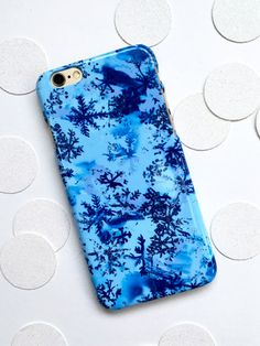 Snowflake Phone Case Christmas Snowflake Winter Blue by MiaFelce