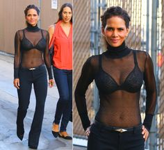Halle Berry may have been a guest on the Jimmy Kimmel Live show, but the actress decided to put on a show of her own when she arrived in a sheer top that revealed her bra and svelte figure. The 49-year-old completed the shocking look with some hair extensions on Aug. 17, 2015.
