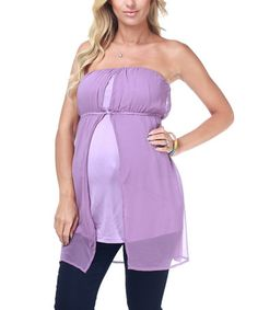 Take a look at this Lavender Flowy Layered Maternity Strapless Top by PinkBlush Maternity on #zulily today!