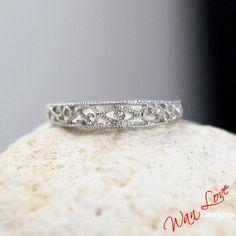 Filigree Milgrain diamond Band ring Set Gold by WanLoveDesigns