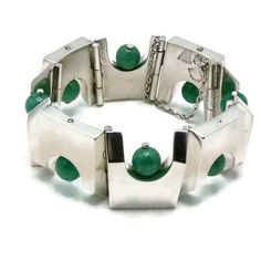 122Gr Antonio Pineda Chrysoprase 970 Silver Architectural Taxco Mexican Bracelet