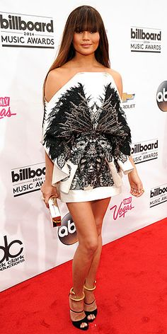 Billboard Music Awards 2014: Chrissy Teigen in an off-the-shoulder black-and-white Fyodor Golan mini