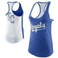 Nike Kansas City Royals Ladies Tri-Blend Loose Fit Racerback Tank - Royal Blue/White