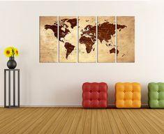 Push Pin world map canvas wall art print by WorldWallArtShop