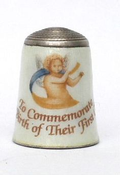 The birth of Charles and Diana's first child (Prince William) was the subject of this commemorative enamel on hallmarked silver thimble by maker JS&S.