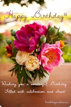 birthday wishes with peonies