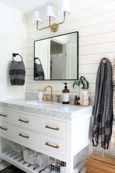 Possible master bath, love the colors and the back splash wall paneling!