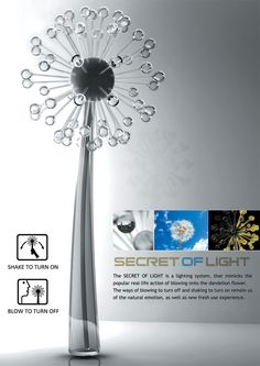 I HAVE TO HAVE THIS ... Shake the lamp to light it up, blow on it to make the lights turn off like a dandelion!