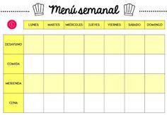 Planificador semanal de comidas en PDF - plantilla de menú descargable gratuita ¡4 modelos! Blanco y negro, rosa, amarillo y verde.