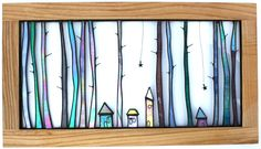 Stained glass wood houses tall trees