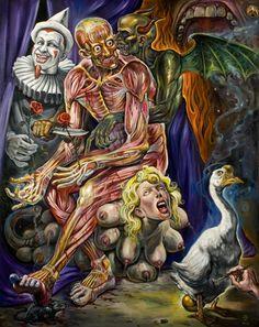 Christopher Ulrich – Torment Is Golden (acrylic & oil on canvas) Arte Horror, Horror Art, Satanic Art, Psy Art, Bizarre, Lowbrow Art, Dope Art, Weird Art, Cultura Pop