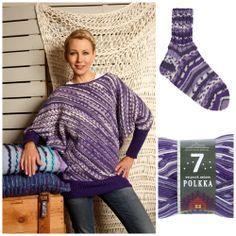 Novita 7 Veljestä Polkka -lanka sai kevään uudessa värikartassa trendikkään kirjavan liilan värjäyksen (värinro 870)! Sewing Ideas, Braids, Men Sweater, Knitting, Crochet, Sweaters, Tops, Design, Women