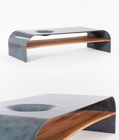 Coffee Table Features of Concrete and Wood Furniture by PAULSBERG