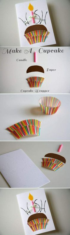 Birthday Cards-Cupcake Candle Make a Wish. Simple to make using a candle and a colorful cupcake wrapper. Must make this no-calorie birthday treat! Georganna Louise onto Cards-Handmade.: