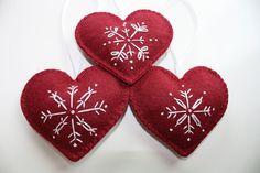 Felt Snowflake Ornaments | Felt Heart Christmas Ornaments - nordic snowflakes. $24.00, via Etsy.