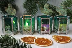 Christmas candle holders, Handcrafted candle holder set for Advent, Winter table decor, Green glass tea light holder, Advent centerpiece