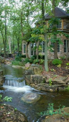 I would have my bedroom window open just to listen to the waterfall! Water Features, Waterfall, Water Sources, Water Fountains, Backyard Ponds, Water Toys, Waterfalls
