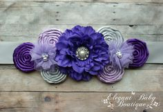Purple Lavender and Silver Maternity Sash by ElegantBabyBoutique, $32.95