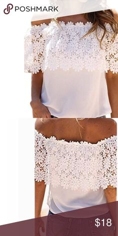 White lace off shoulder top Beautiful white  lace off the shoulder top. Perfect for summer☀️ Tops