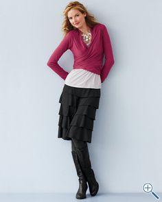 Knit flamenco skirt - great versatile piece. Garnet Hill