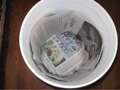 Lining with Newspaper tutorial for composting, storing sharp things, or harvesting in the 5 gallon bucket http://fivegallonideas.com/lining-with-newspaper/#