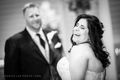 OLDE MILL INN WEDDING PHOTOS : Black and White First look wedding photo - the perfect way to start the day