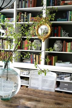 Federal mirror on bookcases, Spring branches