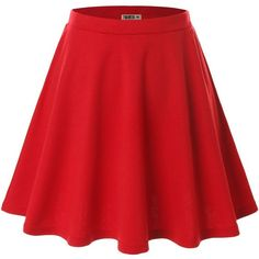Doublju Women Plus-size Versatile Strechy Flared Skater Skirt (24 CAD) ❤ liked on Polyvore featuring skirts, flared skirt, flare skirt, red skirt, circle skirt and red circle skirt