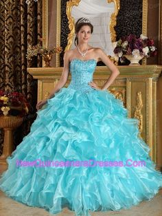 Discount Aqua Blue Quinceanera Dress Sweetheart Ruffles Organza Ball Gown