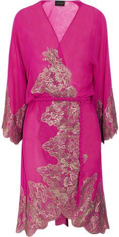 Rosamosario Vita E Passioni Demira Silkgeorgette and Lace Robe in Purple