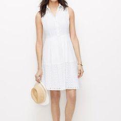 Ann Taylor Sleeveless Eyelet Shirt Dress
