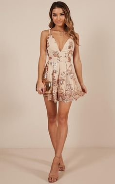 Boys Lining Up Playsuit In Rose Gold Sequin Produced Homecoming Dresses Tight, Hoco Dresses, Tight Dresses, Dance Dresses, Pretty Dresses, Beautiful Dresses, Summer Dresses, Formal Dresses, Rose Gold Dresses