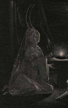 by Natalia Smirnova (cropped for detail; in full image, the figure depicted is facing King Solomon). (fantasy art, female demon with horns) Japanese Mythology, Japanese Goddess, World Mythology, Dark Spirit, Sacred Feminine, Gods And Goddesses, Archetypes, Mythical Creatures, Dark Art