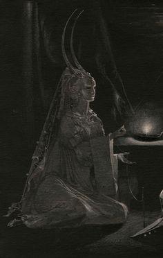 by Natalia Smirnova (cropped for detail; in full image, the figure depicted is facing King Solomon). (fantasy art, female demon with horns) Japanese Mythology, Japanese Goddess, World Mythology, Dark Spirit, Sacred Feminine, Gods And Goddesses, Archetypes, Mythical Creatures, Dark Art