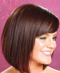 very few layers, straightish bob with shor thick bangs to one side